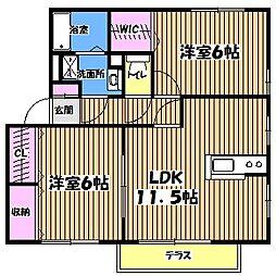 東京都小金井市前原町2丁目の賃貸アパートの間取り