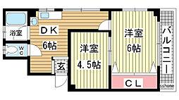 兵庫県神戸市灘区岸地通3の賃貸マンションの間取り