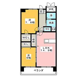 愛知県名古屋市中川区清船町1の賃貸マンションの間取り