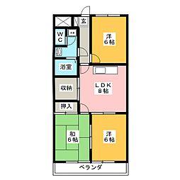 館野コーポ[6階]の間取り
