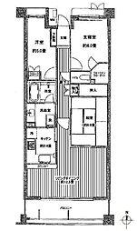 間取り図。専有面積70平米超えのファミリー向けマンションです。