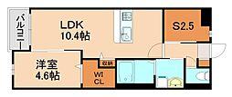 JR香椎線 酒殿駅 徒歩34分の賃貸マンション 3階1SLDKの間取り