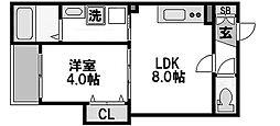 エフミライアルバ 3階1LDKの間取り