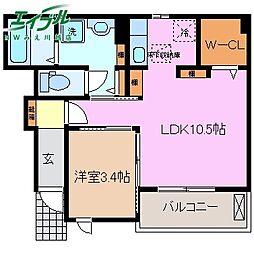 近鉄名古屋線 伊勢朝日駅 徒歩20分の賃貸アパート 1階1LDKの間取り