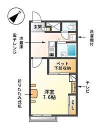 愛知県愛西市柚木町北田面の賃貸アパートの間取り
