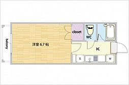 JR山陽本線 西川原駅 徒歩8分の賃貸アパート 2階1Kの間取り