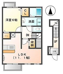 愛知県稲沢市稲島東3の賃貸アパートの間取り
