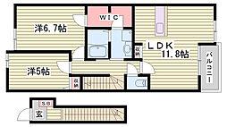 JR赤穂線 播州赤穂駅 徒歩13分の賃貸アパート 2階2LDKの間取り