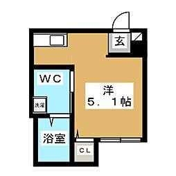 アーバンハウス新松戸 2階ワンルームの間取り