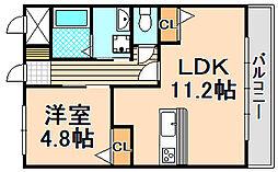 兵庫県伊丹市鋳物師3丁目の賃貸マンションの間取り