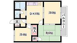 兵庫県加古川市尾上町安田の賃貸アパートの間取り