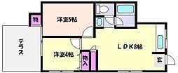 兵庫県神戸市東灘区本山南町2丁目の賃貸マンションの間取り