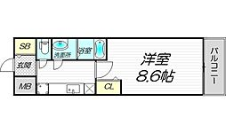 PHOENIX新大阪 6階1Kの間取り