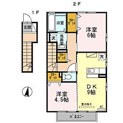 アンジュ ド ボヌール C棟[2階]の間取り