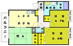福岡県福岡市東区美和台2丁目の賃貸アパートの間取り