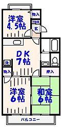 千葉県市川市大野町3丁目の賃貸アパートの間取り