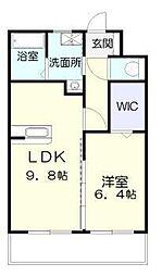 ラフィーネ桜館 1階1LDKの間取り