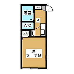 ロジュマン日野南平2番館 1階1Kの間取り