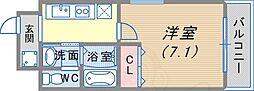 阪急神戸本線 春日野道駅 徒歩4分の賃貸マンション 4階1Kの間取り