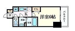 Osaka Metro谷町線 天満橋駅 徒歩5分の賃貸マンション 14階1Kの間取り