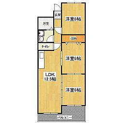 シャンポール山科[1階]の間取り