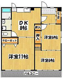 ポニーハイツ[3階]の間取り
