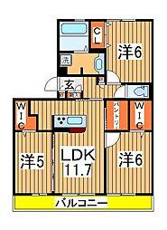 仮)D-roomセントラルパーク[203号室]の間取り
