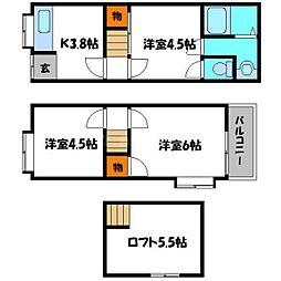 Osaka Metro谷町線 大日駅 徒歩26分の賃貸一戸建て 3Kの間取り