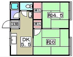 宇山コーポ[1階]の間取り