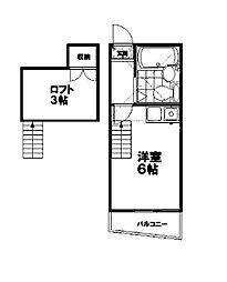 東京都練馬区東大泉2丁目の賃貸アパートの間取り