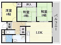 JR東海道・山陽本線 千里丘駅 徒歩18分の賃貸マンション 4階3LDKの間取り