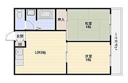 大阪府八尾市竹渕2丁目の賃貸マンションの間取り