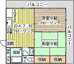 第1道山マンション[501号室]の間取り