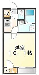 JR福塩線 道上駅 徒歩5分の賃貸アパート 1階1Kの間取り