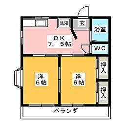 ハイツ柿田[2階]の間取り