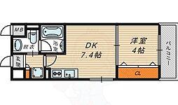 La CASA京橋 5階1DKの間取り