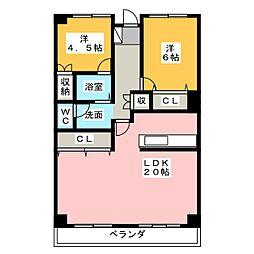 第二桜ハイツ[3階]の間取り