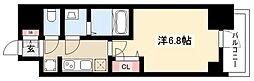 プレサンス名古屋幅下ファビュラス 9階1Kの間取り