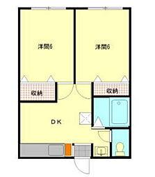 赤木コーポ[1階]の間取り