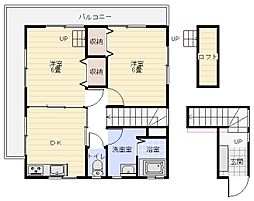 清水邸(2F) 2階2DKの間取り