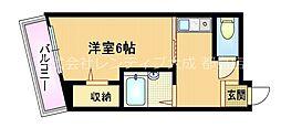 Osaka Metro谷町線 都島駅 徒歩6分の賃貸マンション 3階1Kの間取り
