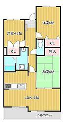 レリブ富塚[3階]の間取り
