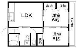 コーポ北日本[4階]の間取り