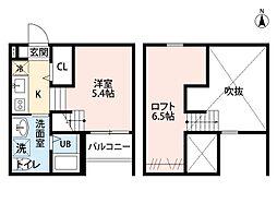 愛知県名古屋市中村区名西通2丁目の賃貸アパートの間取り