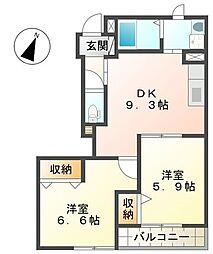 福岡県中間市中鶴4丁目の賃貸アパートの間取り