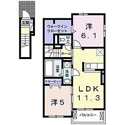 谷井田レジデンス[2階]の間取り