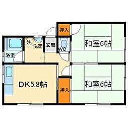 大阪府箕面市粟生間谷西2丁目の賃貸アパートの間取り