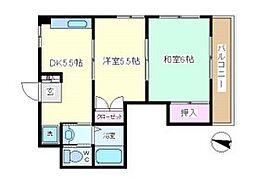 JR鶴見線 安善駅 徒歩14分の賃貸マンション 3階2DKの間取り