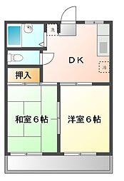 コスモハイツ松本[2階]の間取り