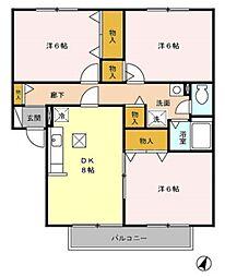 ファミネスKISHI II[102号室]の間取り